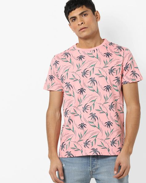 Floral Print Crew-Neck T-shirt By AJIO ( Pink )