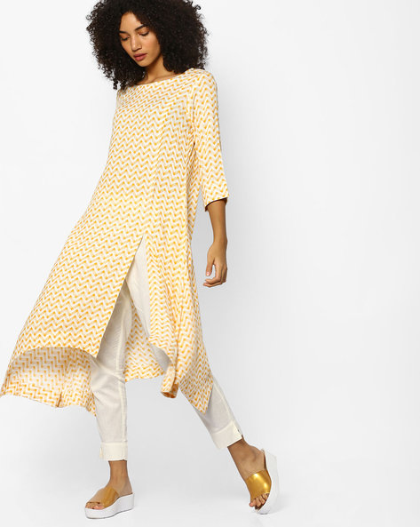 Chevron Print Kurta With Asymmetric Hem By PE IW Casual ( Yellow )