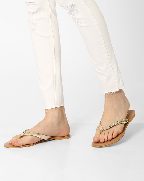 Thong-Style Flats With Braided Design By AJIO ( Gold )
