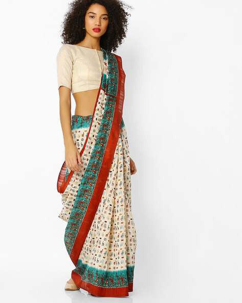Printed Saree With Contrast Border By Florence ( Rust )