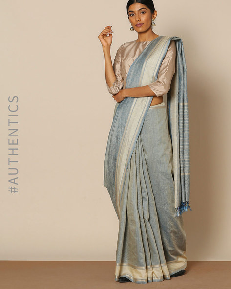 Handloom Pure Silk Muga Woven Pallu Saree By Indie Picks ( Grey )