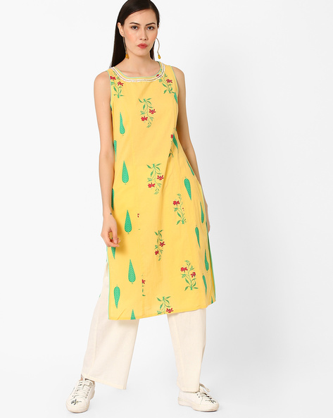 Printed Sleeveless Straight Kurta By AJIO ( Yellow )