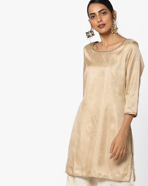 Straight Kurta With Sequins By Melange By Lifestyle ( Gold )