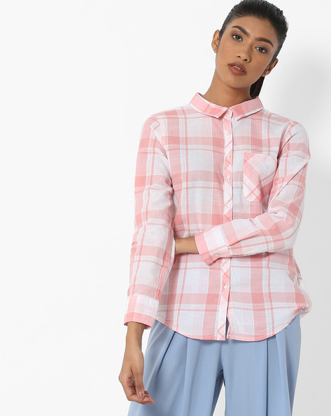 Checked Shirt With Back Tie-Up By DNMX ( Coral )