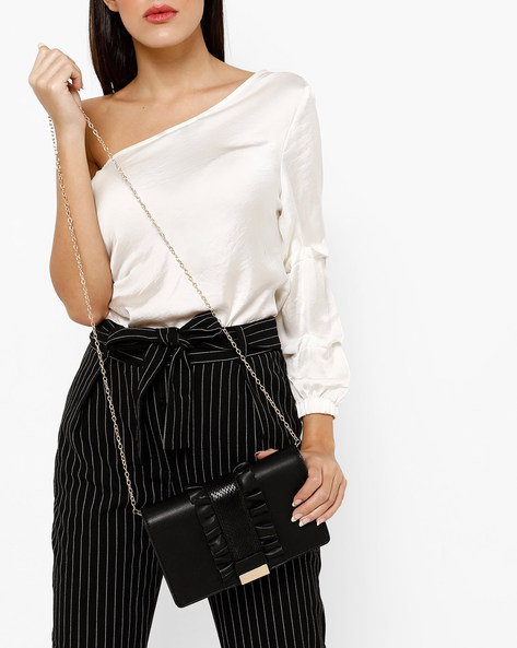 Foldover Clutch With Ruffles & Metal Accent By E2O ( Black )