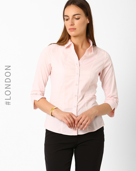 Panelled Shirt By Marks & Spencer ( Pink )