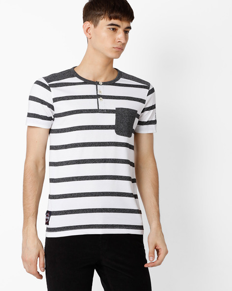 Striped Henley T-shirt By TEAM SPIRIT ( Offwhite )