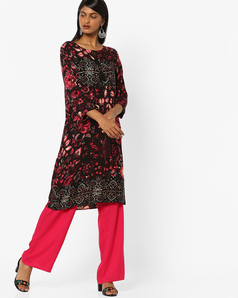 Floral Print Straight Kurta With Tie-Up By Melange By Lifestyle ( Red )