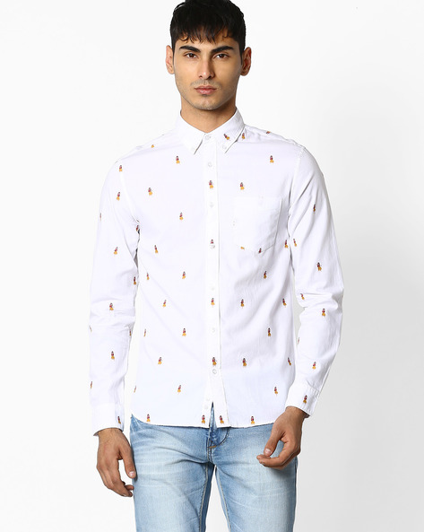 Cotton Shirt With Curved Hem By Celio ( White )