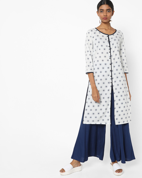 Printed Tunic With Front Slit By AJIO ( Blue )