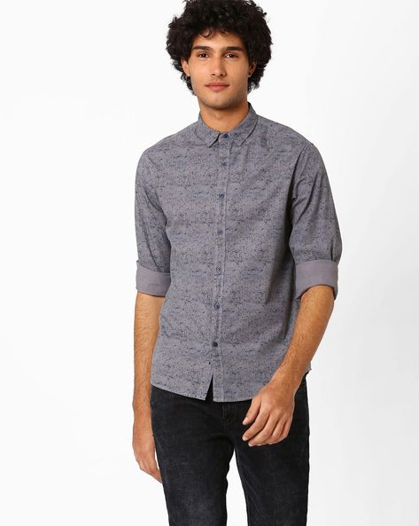 Abstract Print Slim Fit Shirt By AJIO ( Grey )