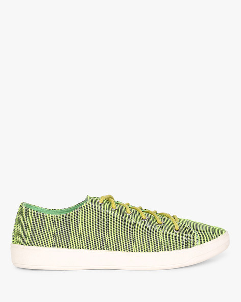 Printed Lace-Up Casual Shoes By AJIO ( Green )
