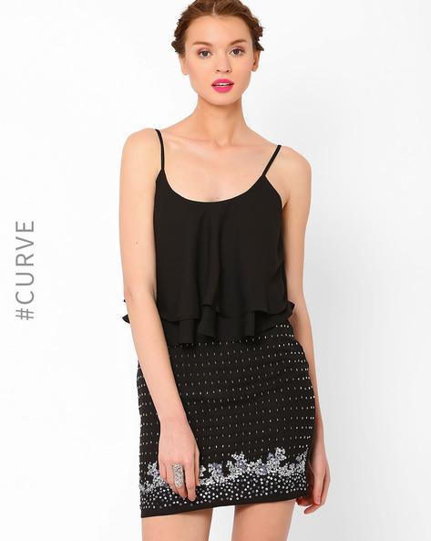 Embellished Blouson Dress By AJIO ( Black )