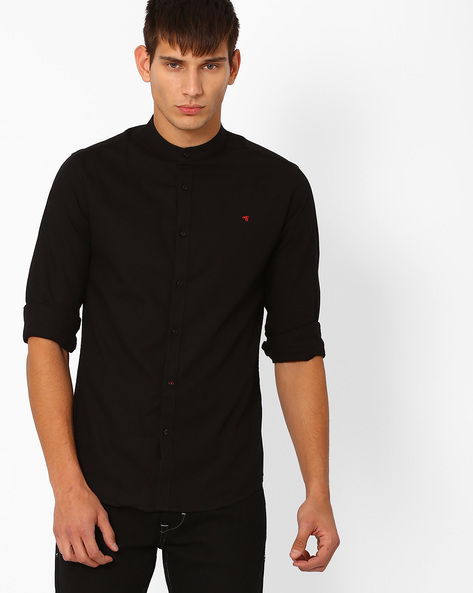 Slim Fit Shirt With Band Collar By The Indian Garage Co ( Black )