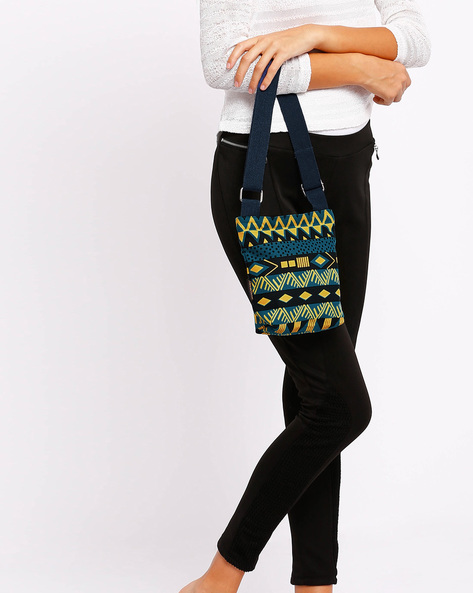 Aztec Print Sling Bag By Kanvas Katha ( Greenishblue )