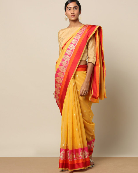 Banarasi Cotton Resham Buti Saree With Satin Border By Banarasi Style ( Yellow )