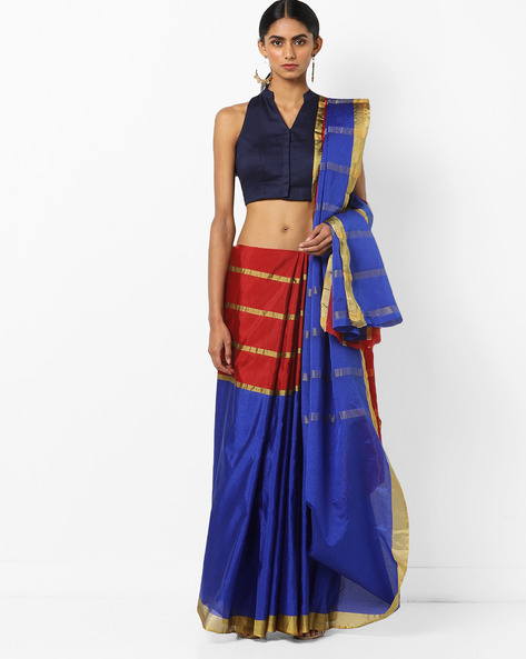 Top-Dyed Silk Saree With Contrast Border By Florence ( Red )