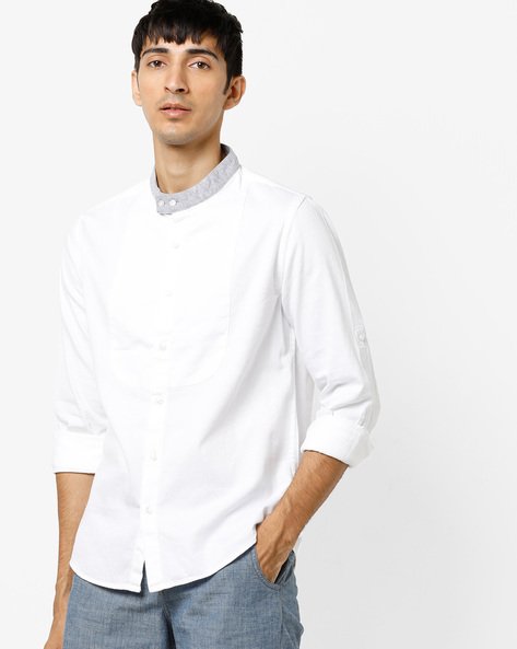 Panelled Shirt With Band Collar By AJIO ( White )