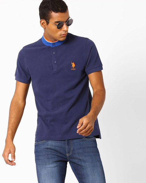 Cotton T-Shirt With Contrast Band Collar By US POLO ( Blue )