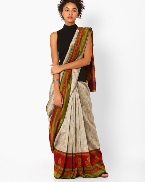 Printed Saree With Contrast Border By Florence ( Red ) - 460057300002