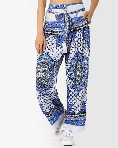 Printed High-Rise Pants With Fabric Belt By Oxolloxo ( Blue )