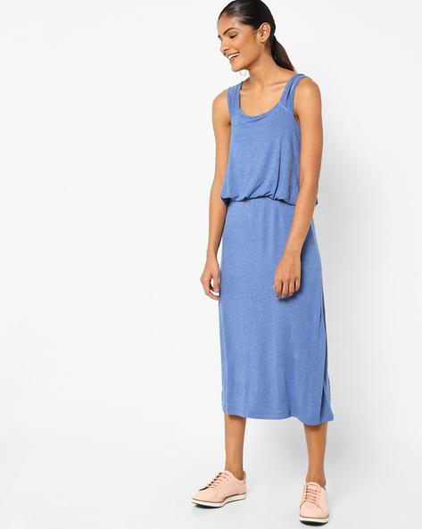 Sleeveless Blouson Midi Dress By AJIO ( Blue )