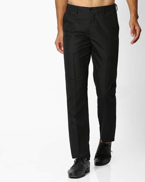 Flat-Front Slim Fit Trousers By NETWORK ( Black )