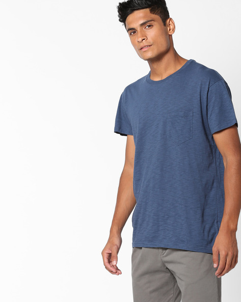Crew-Neck T-shirt With Patch Pocket By Aeropostale ( Denim )