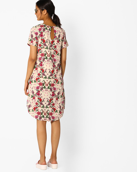 Floral Print High-Low Shift Dress By FIG ( Beige )