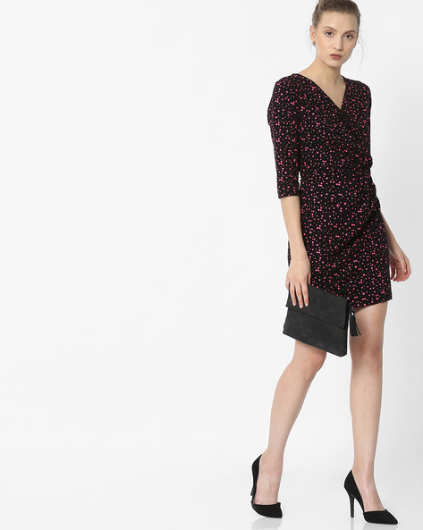 Printed Bodycon Dress With Surplice Neck By ANONYMOUS CO ( Ltpink )