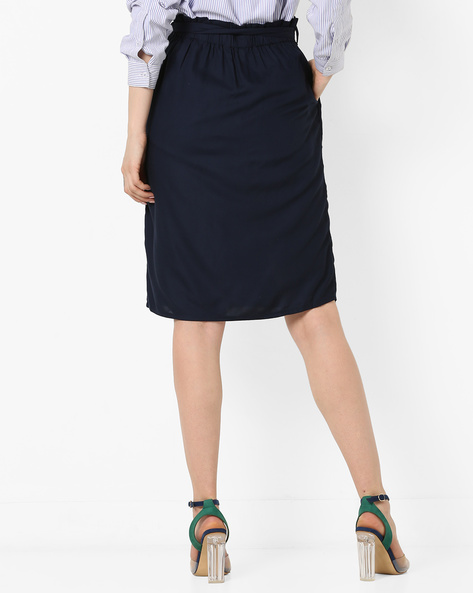 Pleated Skirt With Belt By Project Eve WW Casual ( Darkblue )