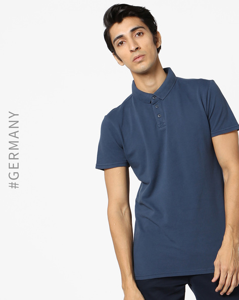 Polo T-shirt With Ribbed Collar By Tom Tailor ( Blue ) - 460110770004