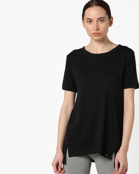 High-Low T-shirt With Slit Hem By SATVA ( Black )