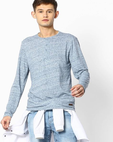 Henley T-shirt With Slub Effect By VOI JEANS ( Blue )
