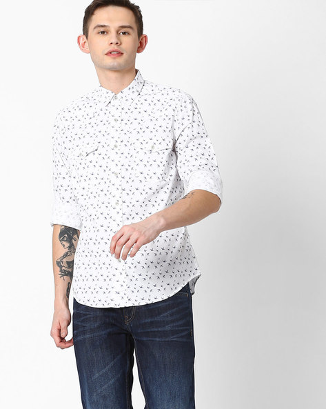 Bird Print Slim Fit Shirt By AJIO ( White )