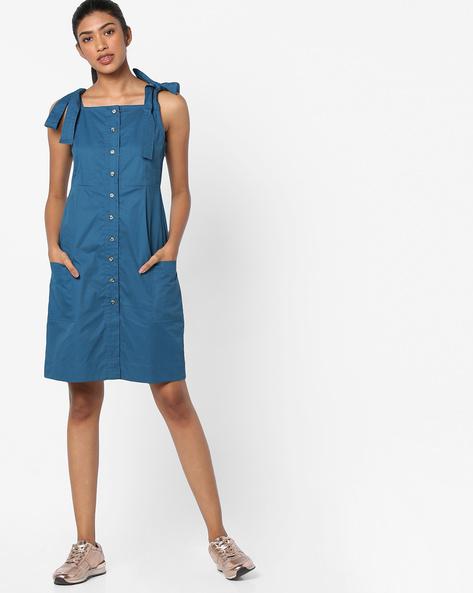 Button-Down Slip Dress By AJIO ( Teal )