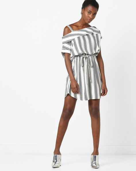 Striped One-Shoulder Dress With Tie-Up Waist By AJIO ( Black )
