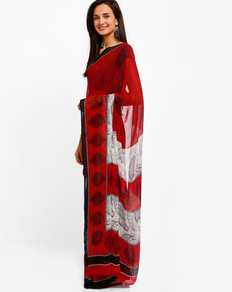 Printed Georgette Saree By Majestic Silk ( Red )