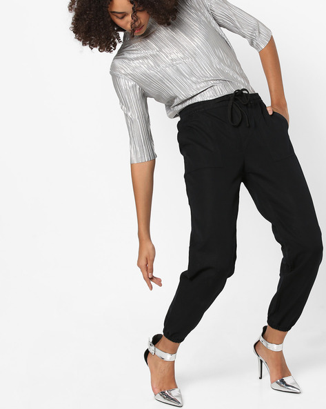 Ankle-Length Pants With Drawstring By Vero Moda ( Black )