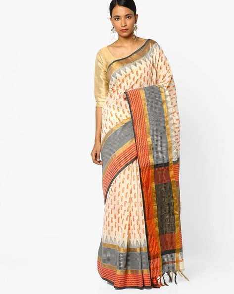 Paisley Print Saree With Contrast Border By Era ( Offwhite )