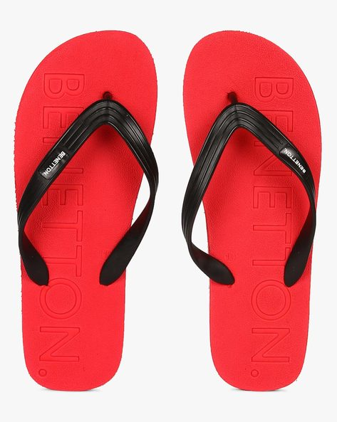 Thong-Style Flip-Flops With Embossed Branding By UCB ( Red )
