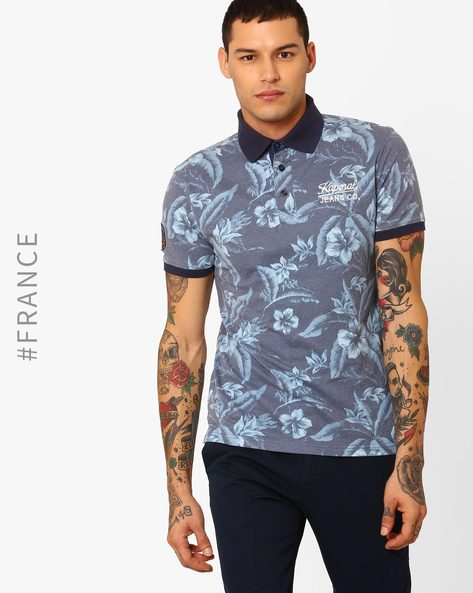 Floral Print Polo T-shirt By Kaporal ( Medieval )