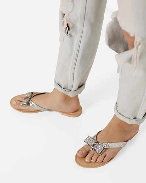 Thong-Style Flats With Bow By AJIO ( Silver )