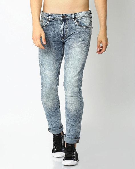 Acid Wash Skinny Jeans By DNM X ( Mediumblue )