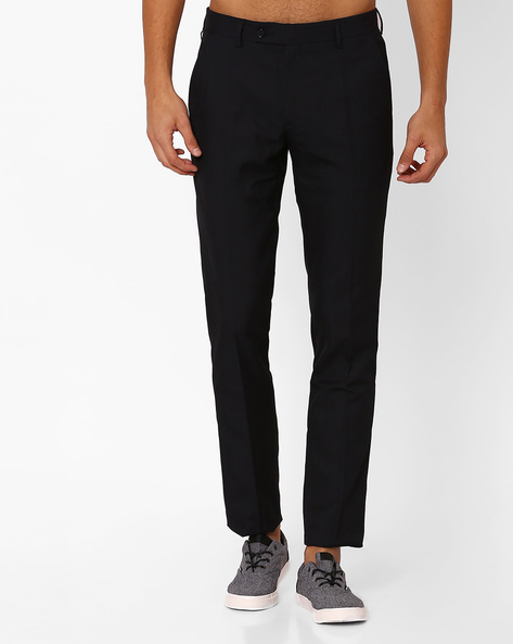 Flat-Front Sharp Fit Formal Trousers By Black Coffee ( Navy )