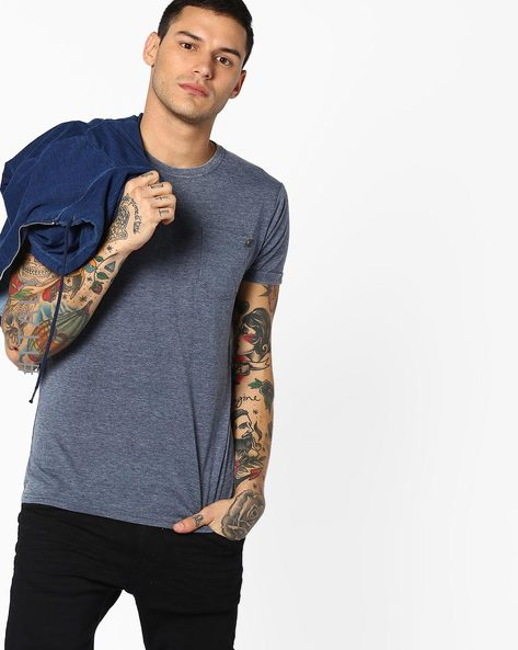 Crew-Neck T-shirt With Patch Pocket By ALCOTT ( Navyblue )