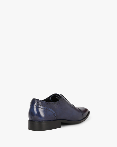 Genuine Leather N9 Treated Brogue Shoes By AJIO ( Navy )