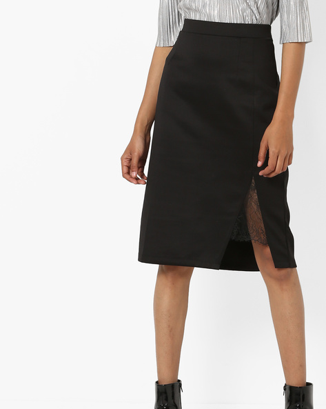High-Rise Pencil Skirt With Side Slit By AJIO ( Black )