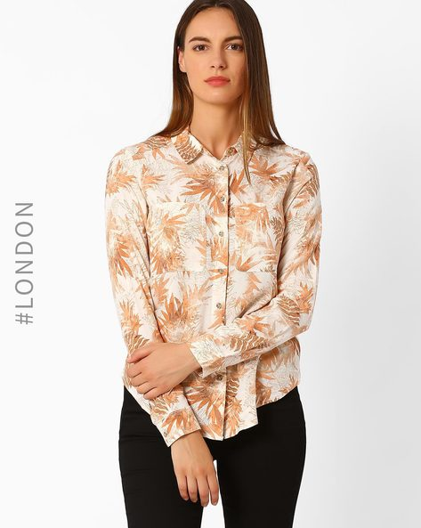 Printed Utility Shirt By Marks & Spencer ( Beige )
