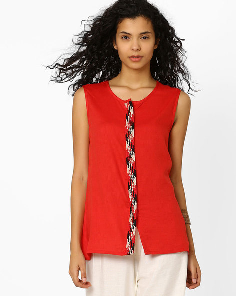 Sleeveless Top By Global Desi ( Red )